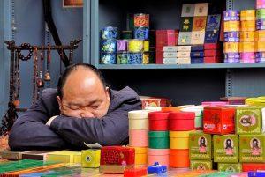 vendedor dormido